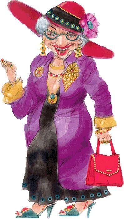 Смешные бабушки в рисунке, открытка