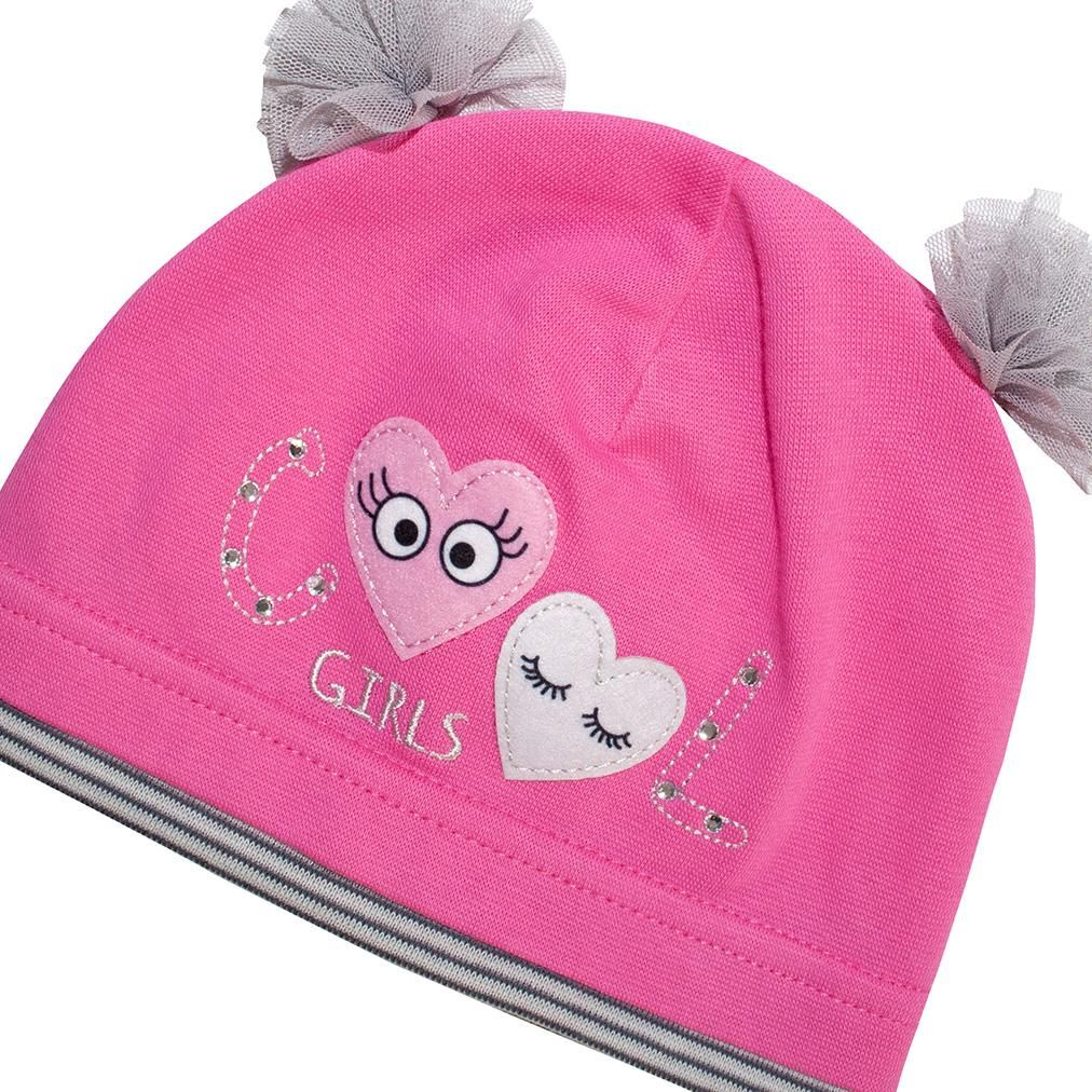 Dark Pink Beanie with Gray Bows   40/045-DP