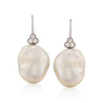 18-19mm Baroque Pearl and .36 ct. t.w. Diamond Earrings in 14kt White Gold Earrings
