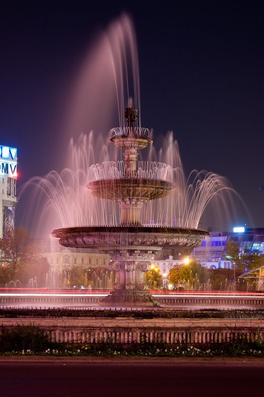 Fountain in the center of Bucharest, in the Piata Unirii.