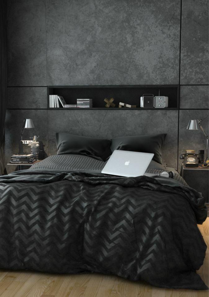 Une tête de lit noire nuancée.  #Bedroom #black