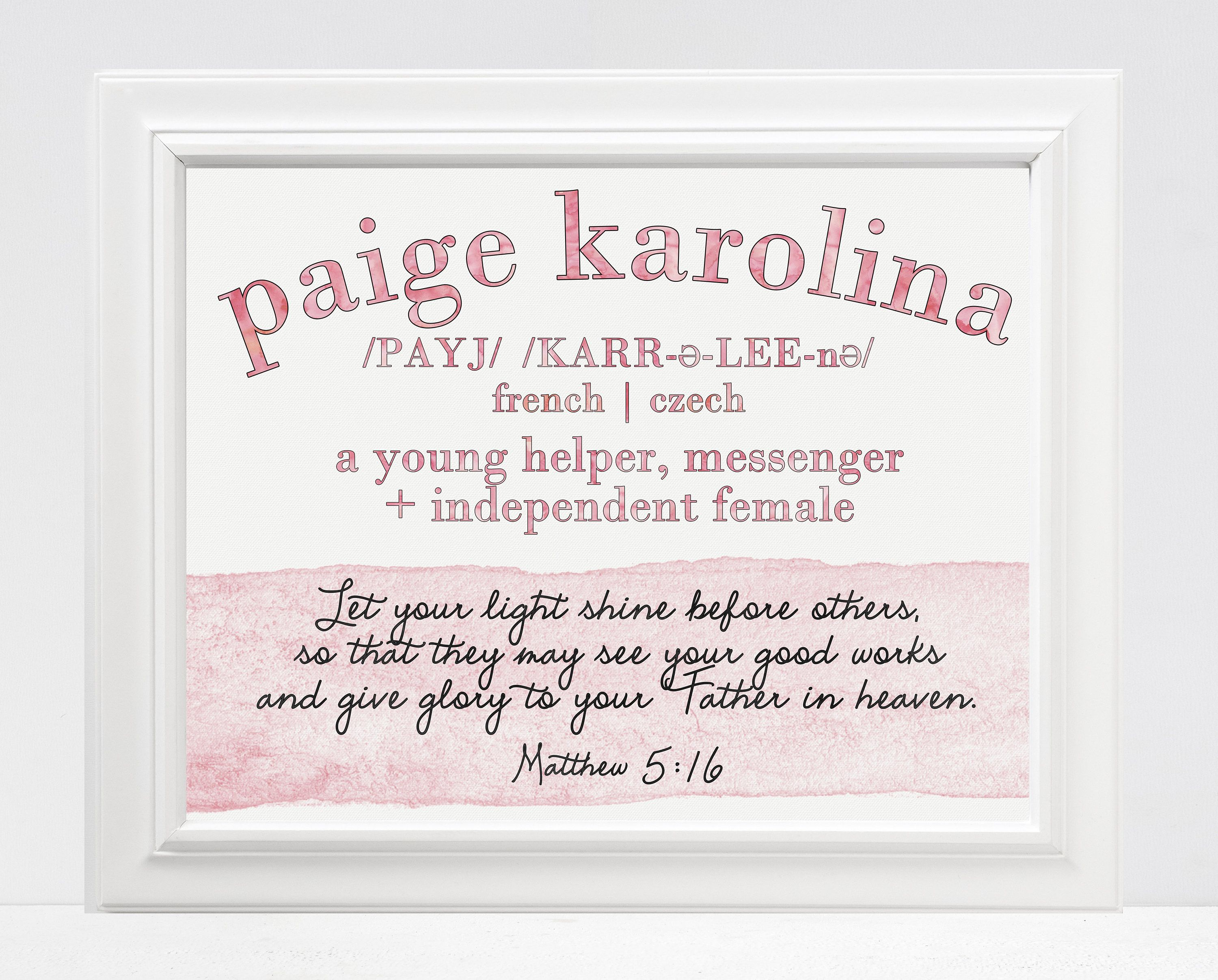 Baby Girl Name Story Personalized Name Meaning And Bible Verse Art