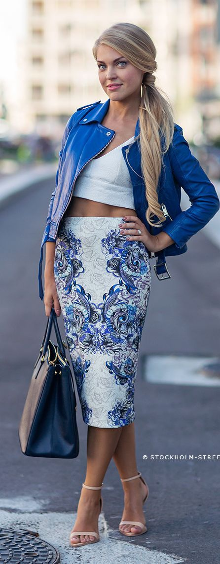 White Printed Maxi Pencil Skirt Streetstyle