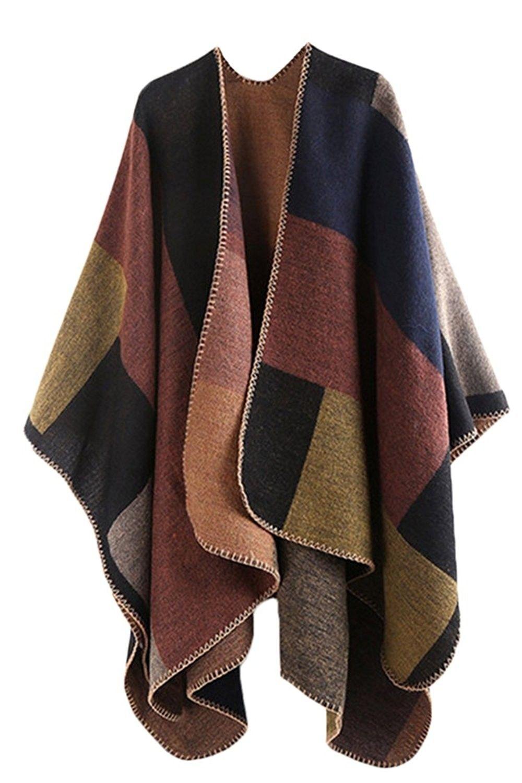 b633306db5 Women Winter Reversible Oversized Fleece Blanket Poncho Cape Shawl Coat -  Brown - CB1296GWAKR,Women's Clothing, Coats, Jackets & Vests, Wool & Pea  Coats ...