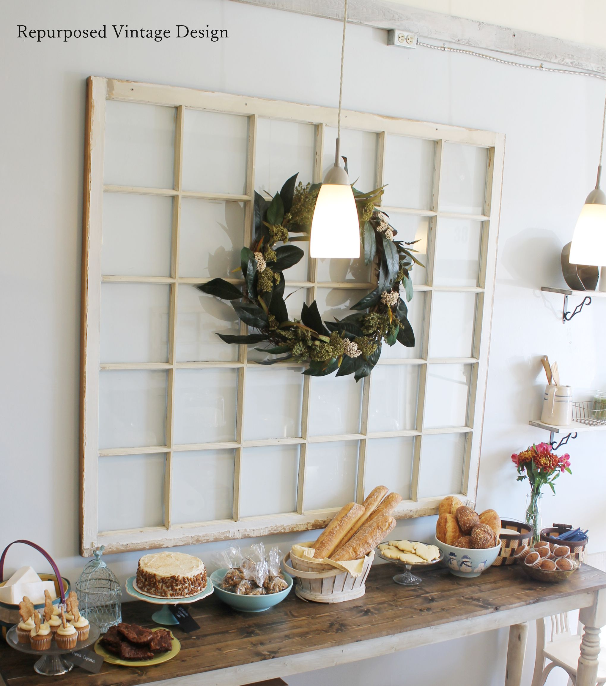 Bakery Cafe design, Decor, Ladder decor
