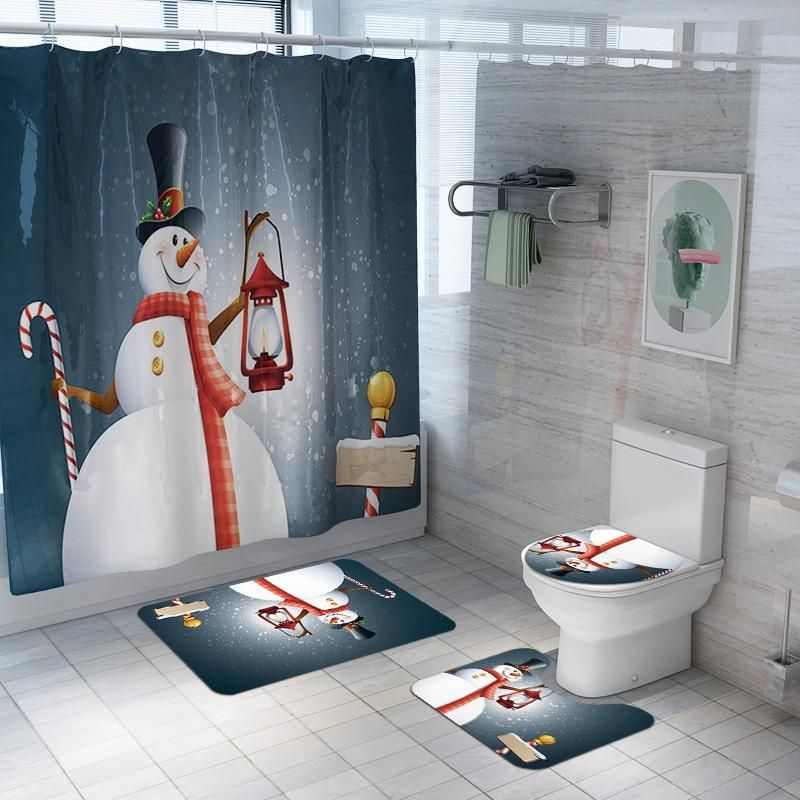 Christmas Bathroom Set Shower Curtain A 4pcs Christmas Shower
