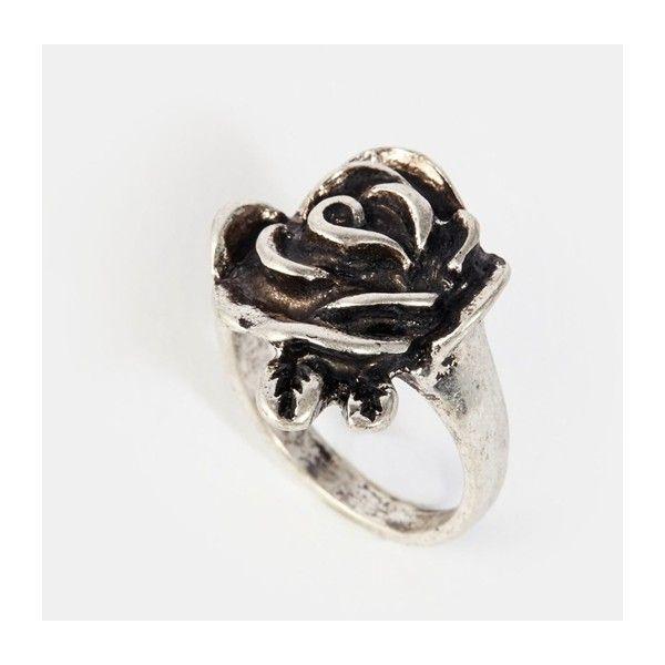 Flongo Womens Ladies Gothic Stainless Steel Rose Flower Vine Band Ring