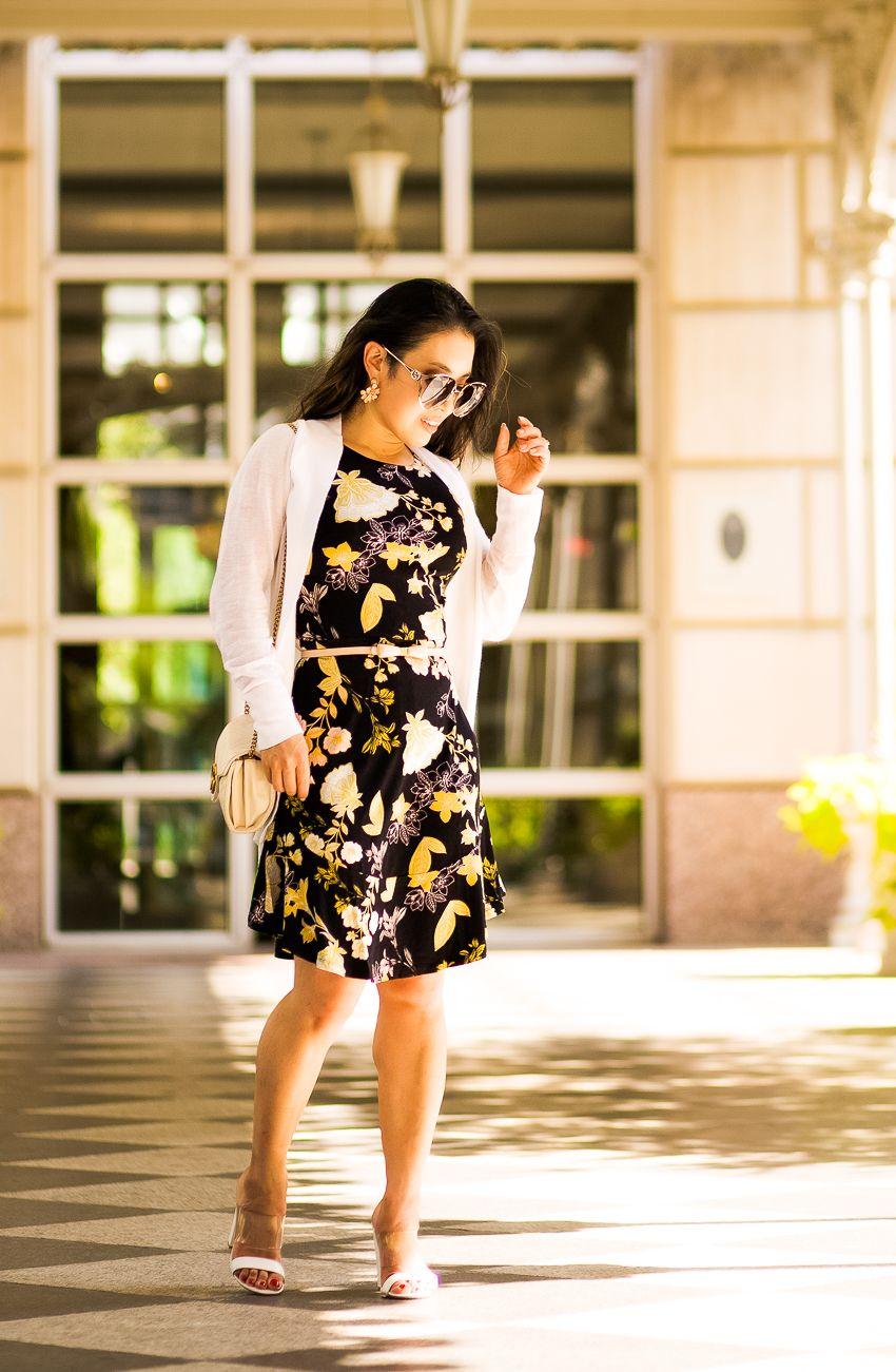 4ba3a3c5a cute & little | dallas petite fashion blog | loft golden floral flare dress,  white block heel mules, white sheer cardigan, gucci sunglasses | little  black ...