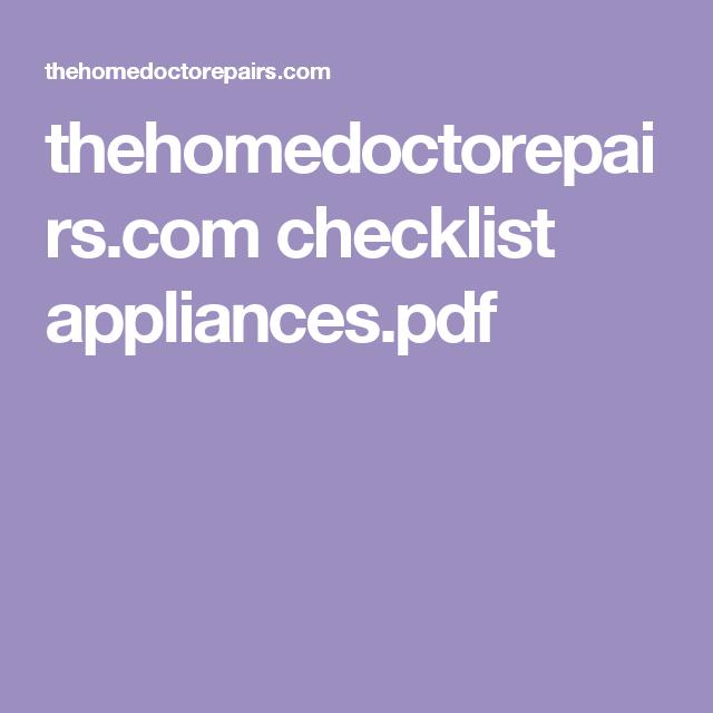 Thehomedoctorepairs.com Checklist Appliances.pdf