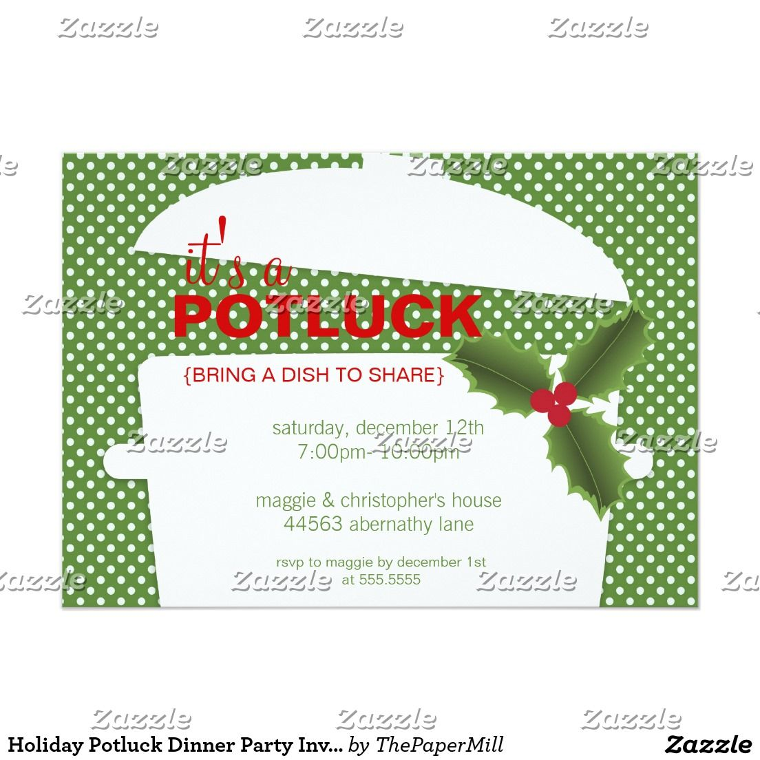 Holiday Potluck Dinner Party Invitations