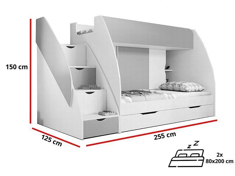 Hochbett Martin Modern Kinderzimmer Doppel Stockbett Etagenbett mit Bettkasten kaufen bei Hood.de
