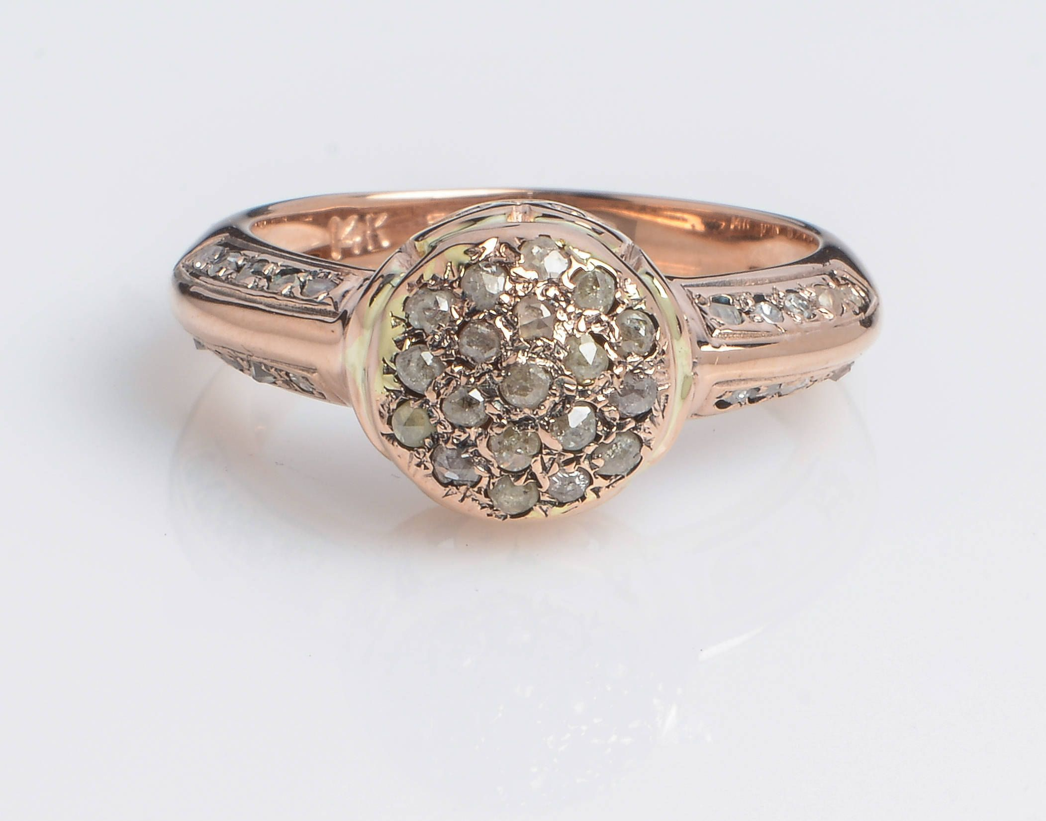 Napoleon style Rose Cut Diamond Vintage Ring in 14K Rose Gold by