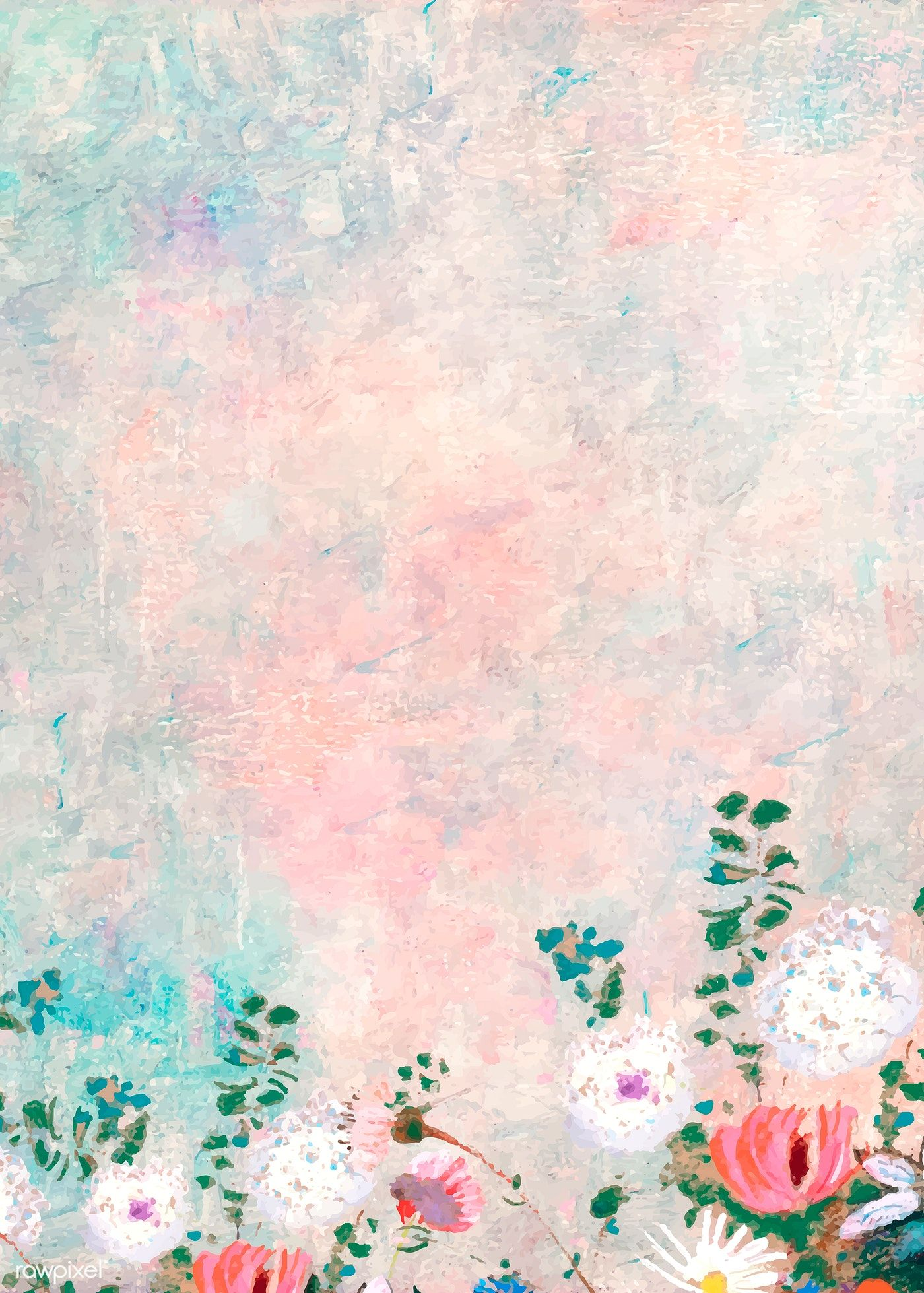 Pink floral wall textured background vector free image