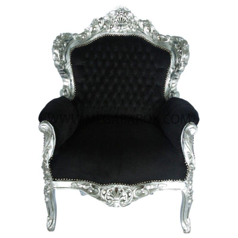 Barok Stoelen Zilver Zwart.Barok Fauteuil Zilver Zwart Fauteuil Barok Zwart