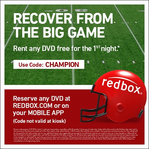 Relax after the game with a free 1day DVD rental. Reserve
