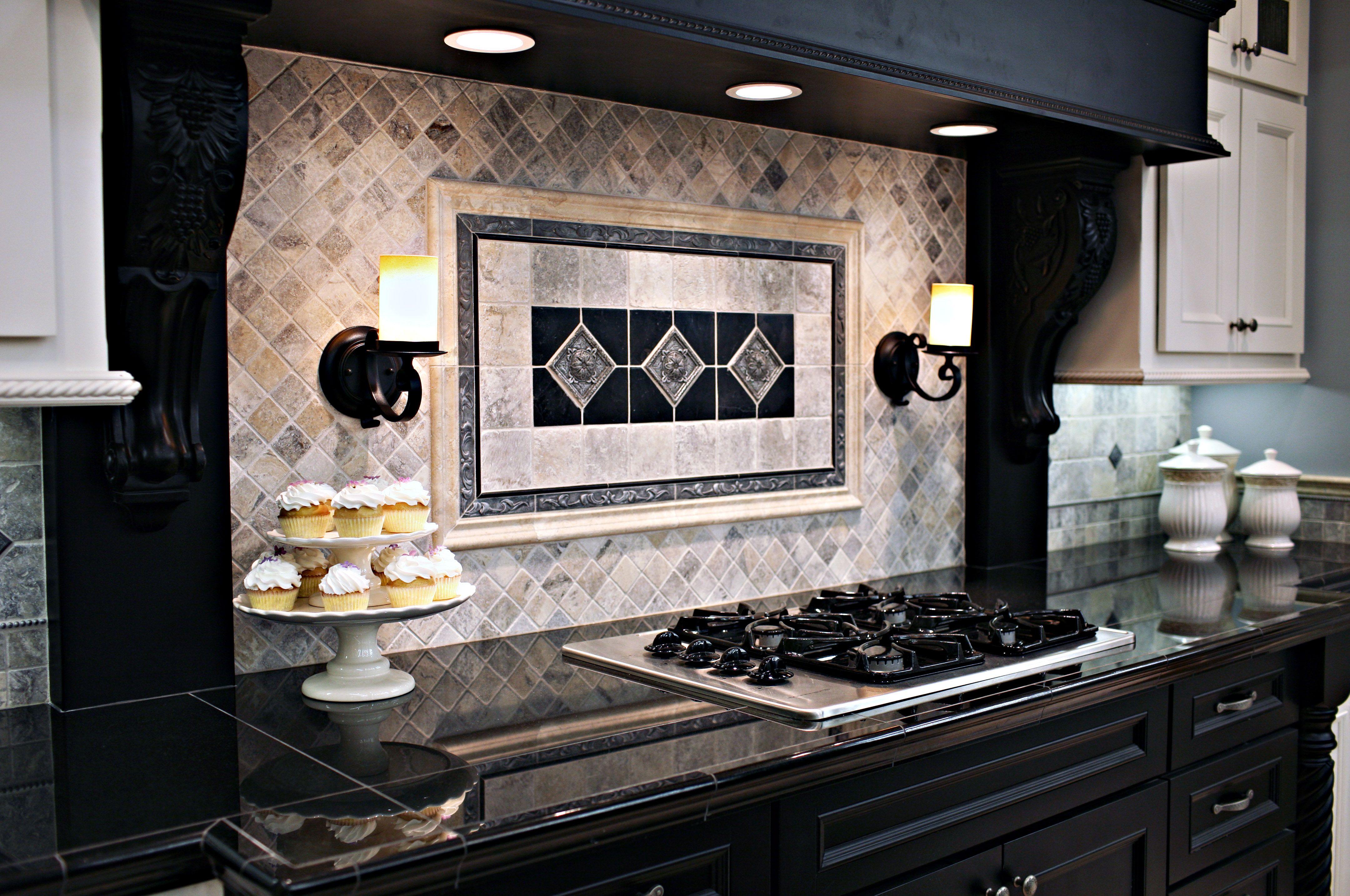 Claros Silver Travertine with Metal Accent Backsplash.   Kitchen ...