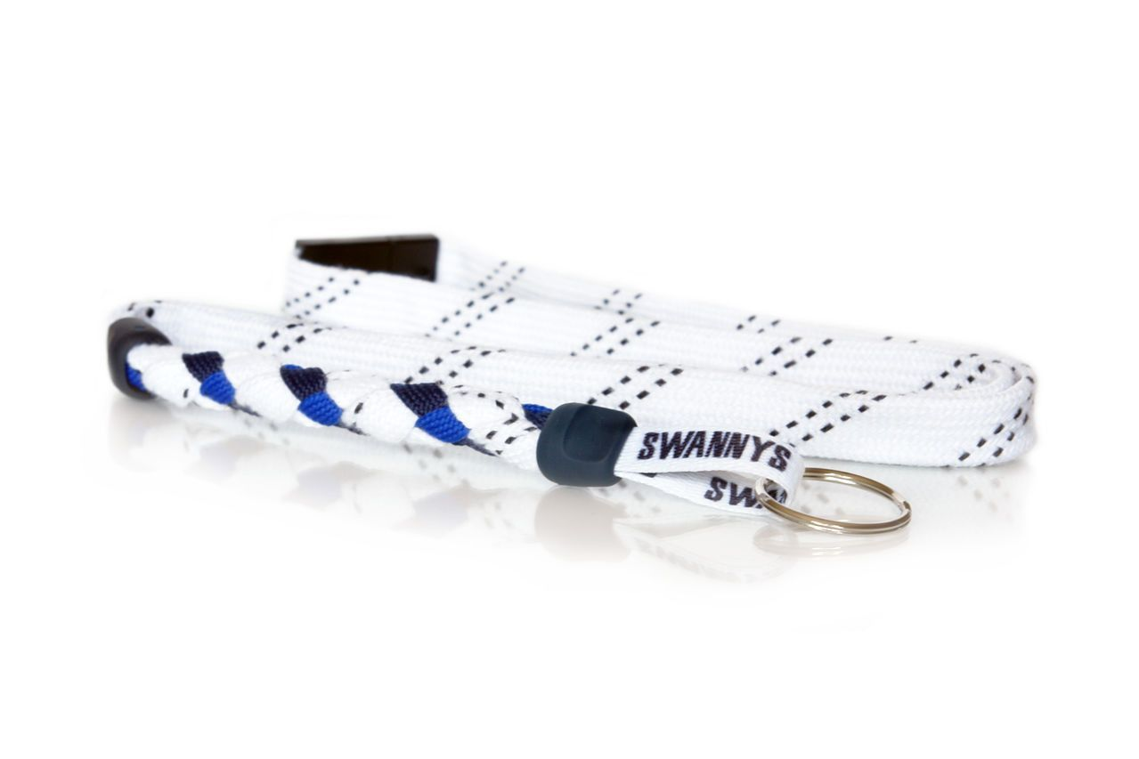 White, Navy Blue and Royal Blue Hockey Lanyard by Swannys