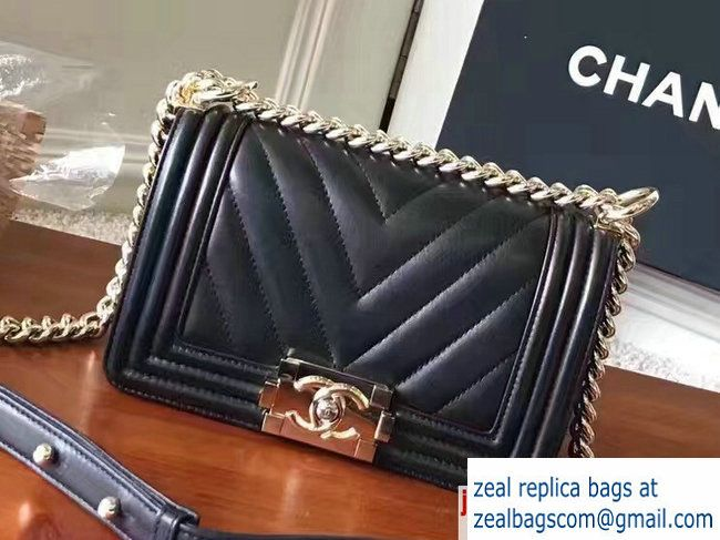 1efac602e0b581 Chanel Shine Gold Hardware Boy Chevron Flap Small Bag Black 2017 ...