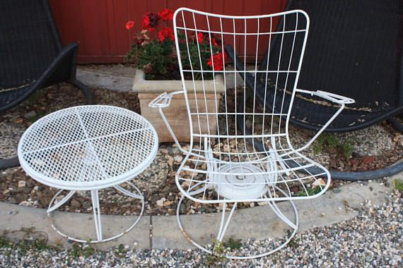 Midcentury Outdoor Chair And Rotating Side Table / Homecrest / Vintage Outdoor  Furniture / 1960s /