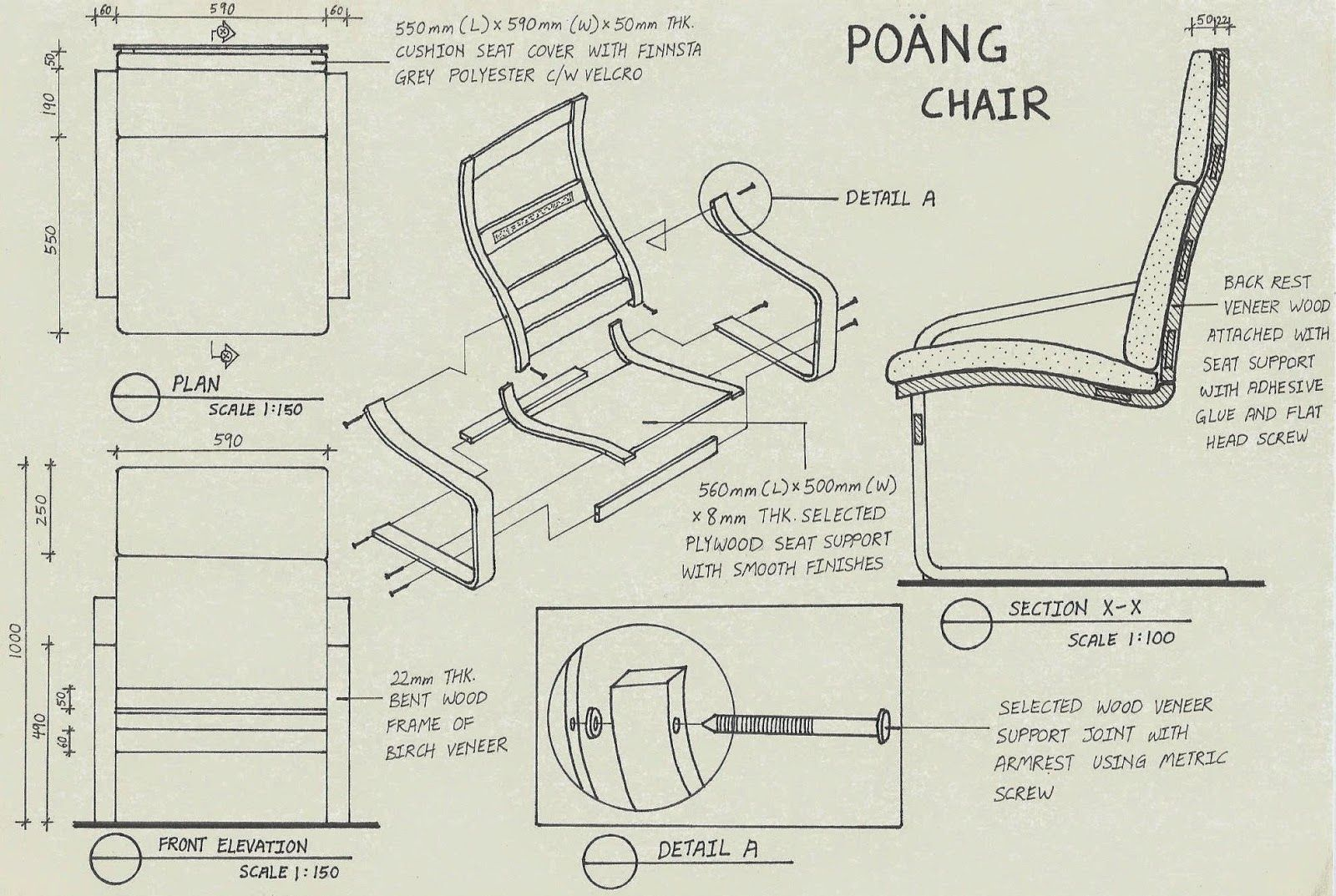 Lounge chair top view drawing - Detail Drawing For Poang Series Chair By Ikea This Assembly Drawing Consists Of Plan View Front Elevation Cut Section And Blo