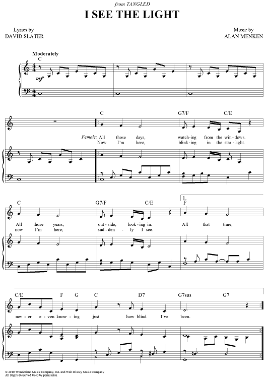 I See The Light I Saw The Light Sheet Music Printable Sheet Music