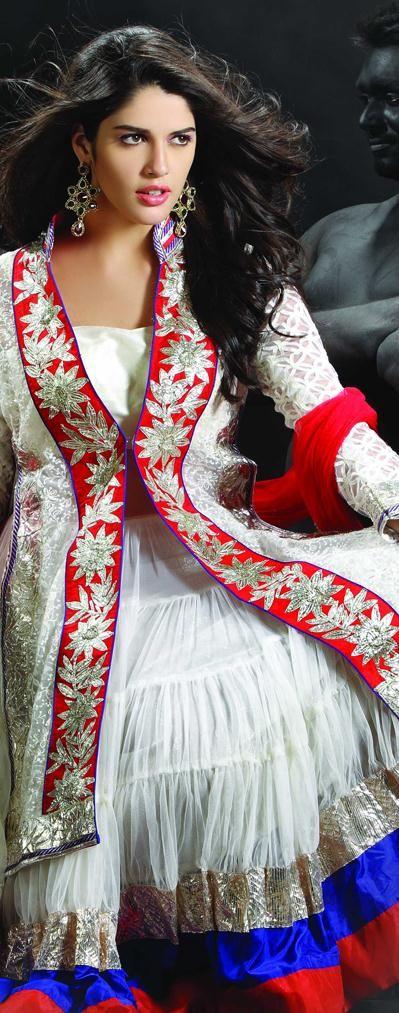 $194.37 White Net Chaniya Choli 18931 With Unstitched Blouse