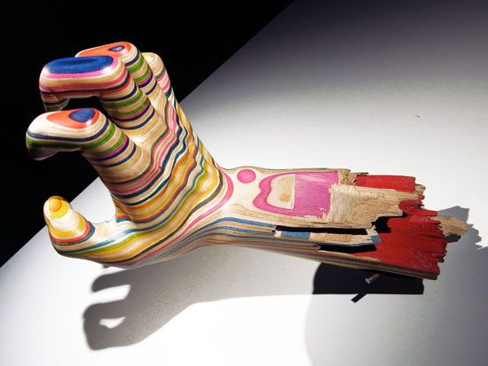 Recycled Skateboard Sculpture Art