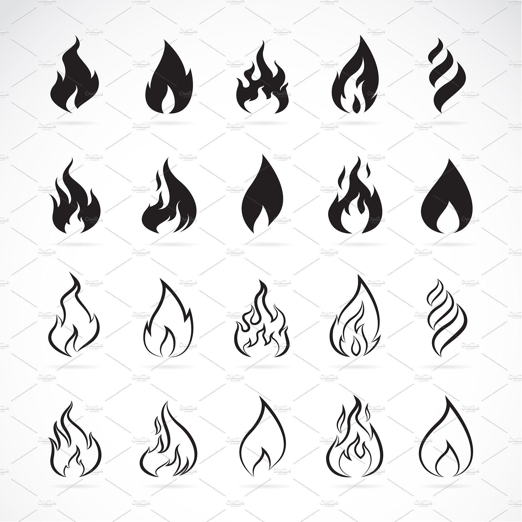 Vector set of flame symbols. Icon. , spon, symbolswhite