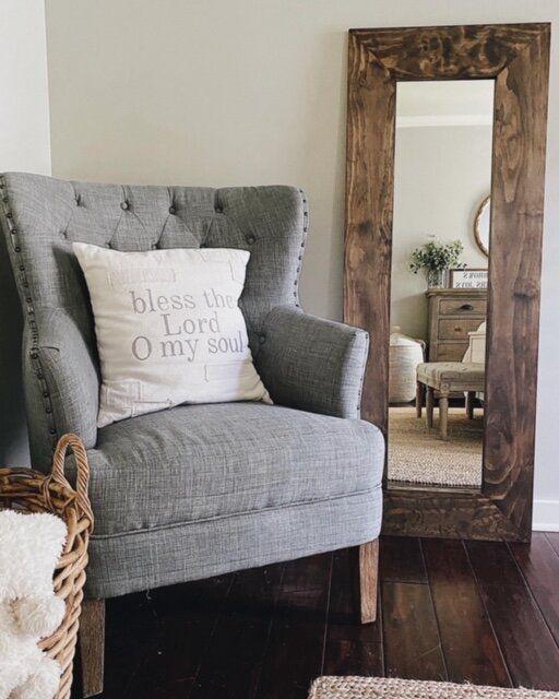 DIY Farmhouse Wood Framed Mirror - She Gave It A Go