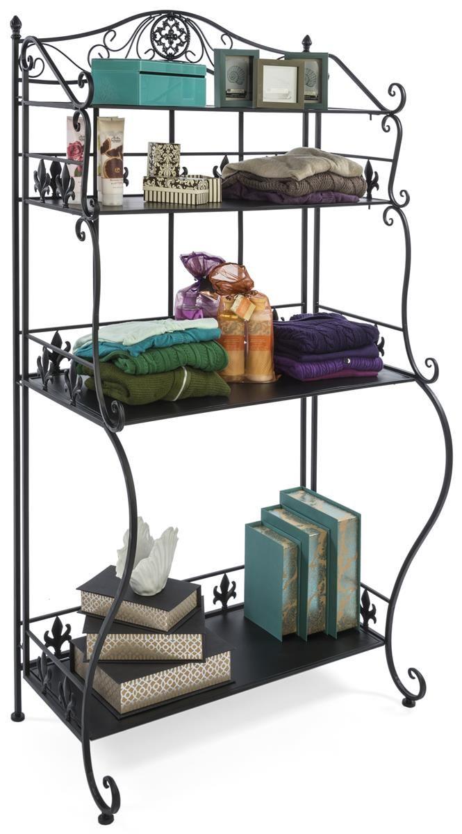 Wrought iron shelves bathroom - 34 25 W Metal Retail Shelving W 4 Open Space Shelves Ornate Design