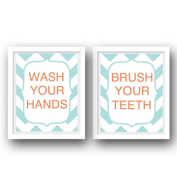 Bathroom Manners Set Of 2 Prints  Aqua Coral Bathroom Decor  Kids Bathroom  Prints
