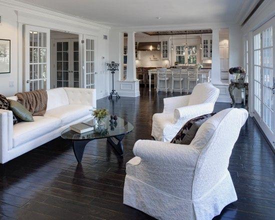 surprising white living rooms dark wood floors | Traditional Living Room Dark Wood Floor White Trim Design ...