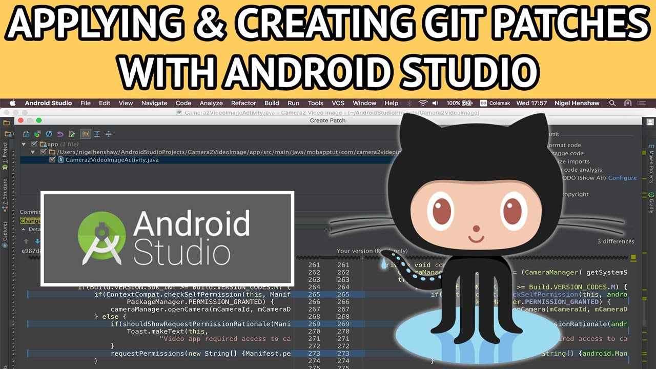 android studio git creating applying patches Android