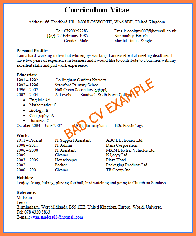 Resume Examples Good And Bad #examples #resume #ResumeExamples ...