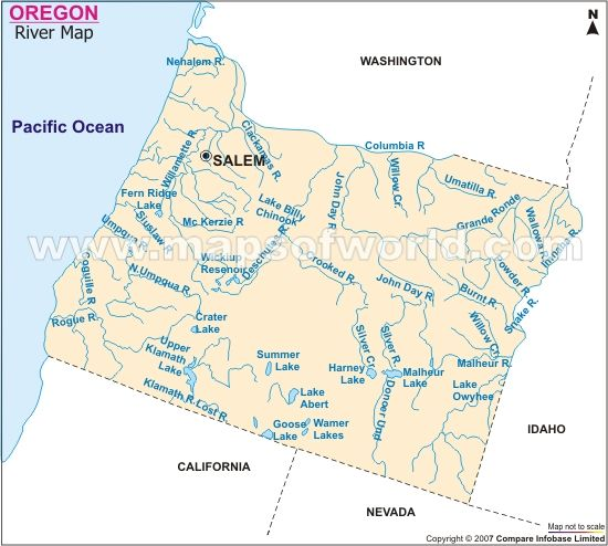 Oregon River Map Rivers Map Of Oregon Oregon Maps - Oregon lakes map