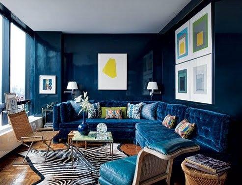 Blue Velvet Sofa Todd Alexander Romano Ad Blue Living Room Navy Blue Living Room Blue Rooms