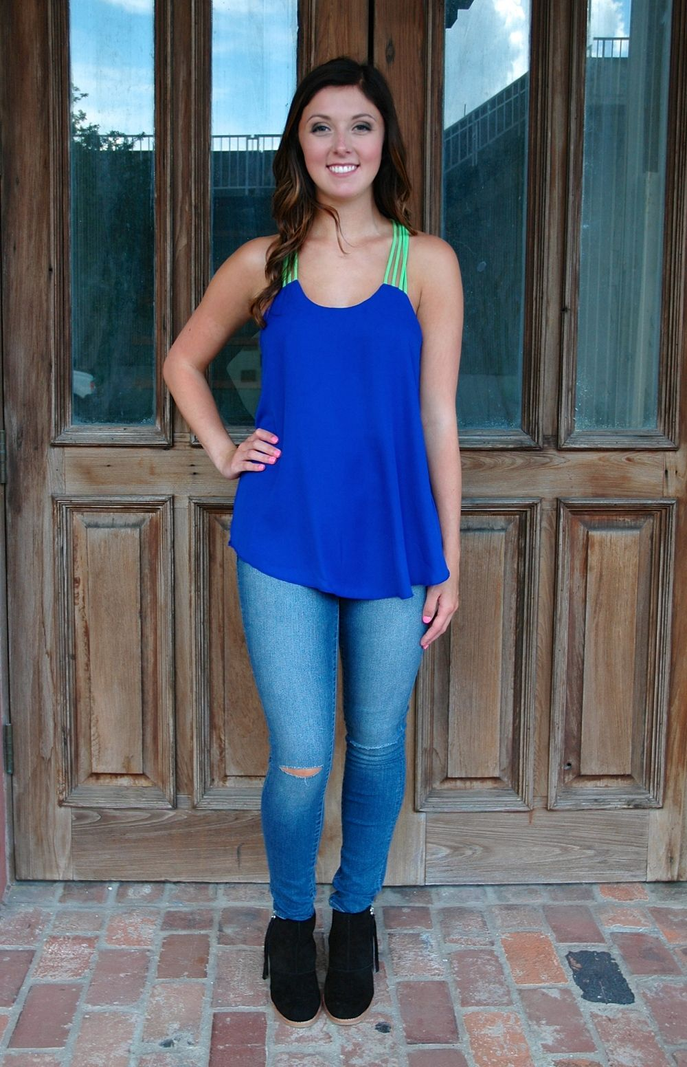 Cobalt & Lime Strappy Back Top http://www.shopwildflowerboutique.com/new-products/cobalt-lime-strappy-back-top