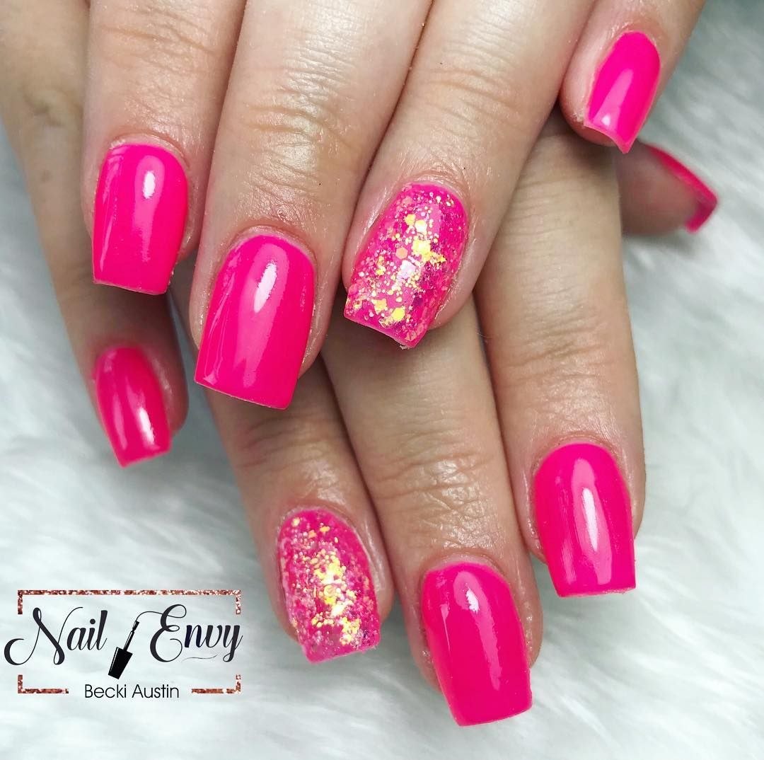 Pink Bright Short Square Simple Glitter Summernails Nails Acrylicnails Nail Acrylic Nail Designs Glitter Short Square Acrylic Nails Pink Acrylic Nails