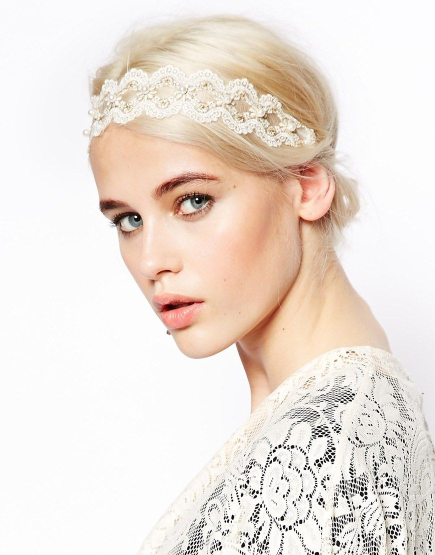 asos lace + faux pearl headband | wedding veils + hair