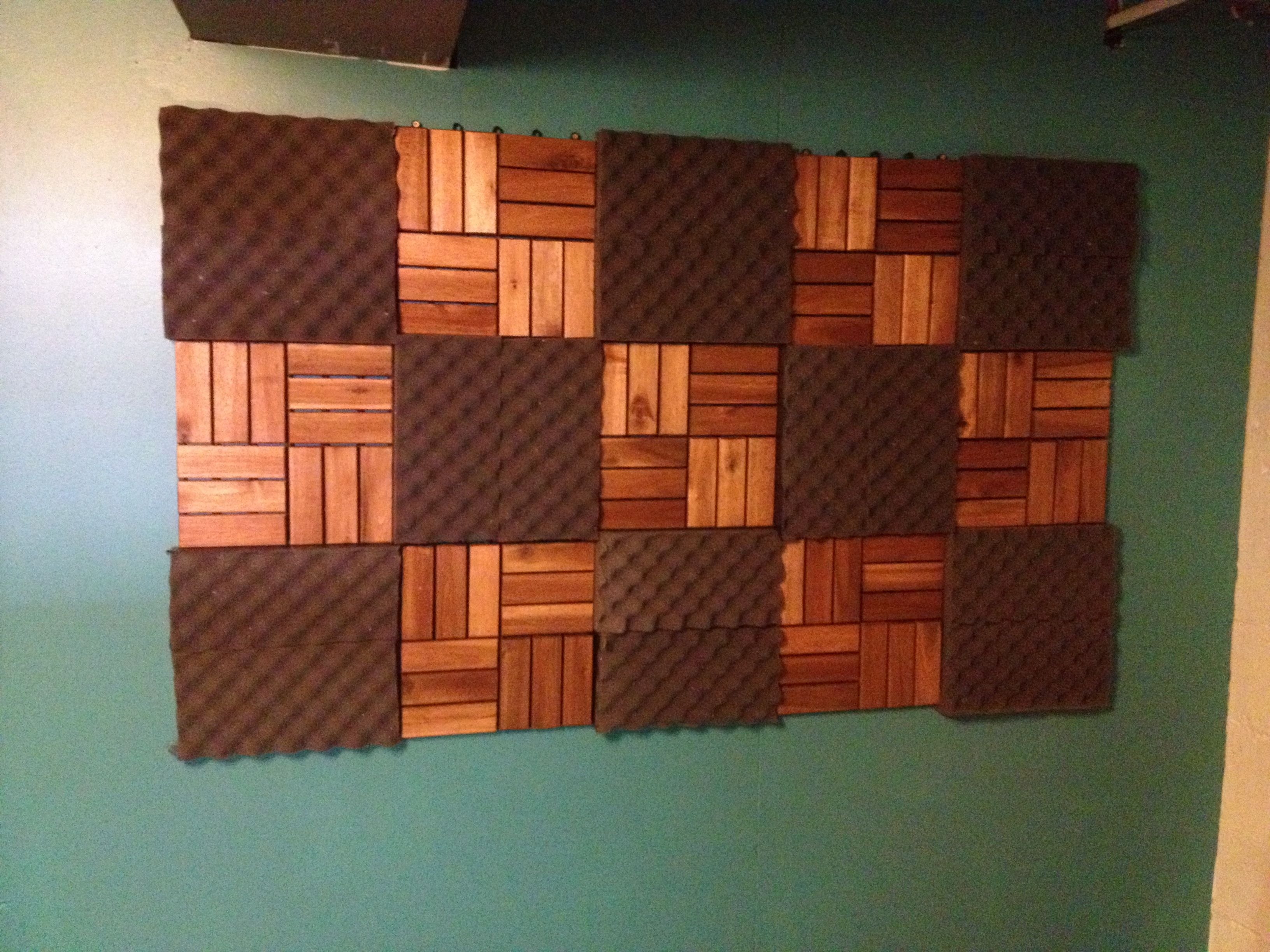 New Acoustic Treatment In My Basement Studio   Cedar Deck Tiles And  Egg Carton