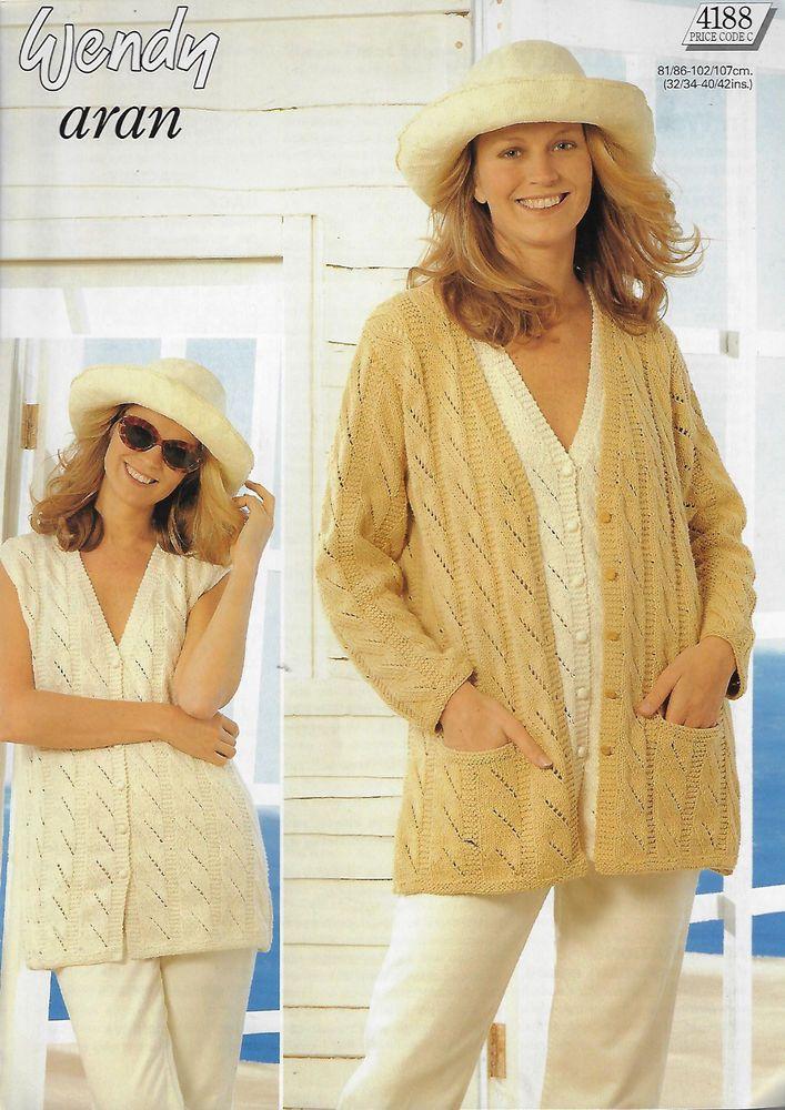 Womens Textured Jacket Vest Wendy 4188 Knitting Pattern Aran