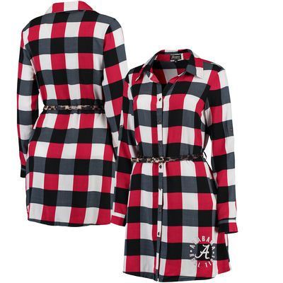 0a14ae0f88 Alabama Crimson Tide Women s Leopard Belted Plaid Tunic Shirt Dress -  Crimson