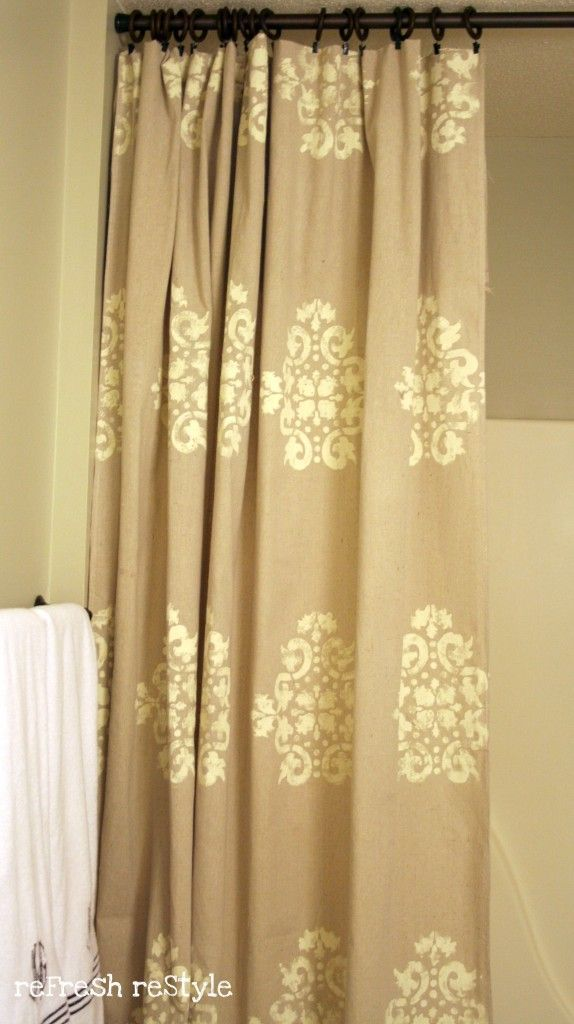 Painted Stencilled Drop Cloth Shower Curtain White Sheet And Black Paint Yellow Ribbon Already Have Stencil