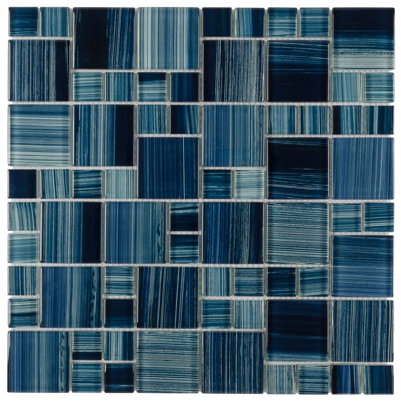 Glass Mosaic Tile Marine Blue Pattern | Glass mosaic tiles, Mosaics ...