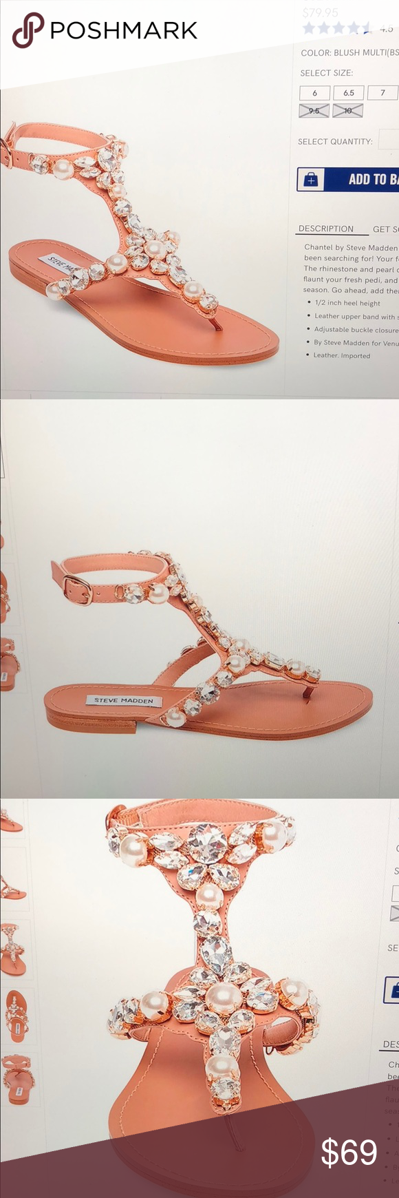 46001c596b6 Steve Madden crystal embellished sandal Only worn once. These sandals are  elegant and very stylish