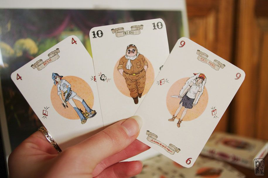 Hand drawing miyazaki playing cards pauline renard nicknamed pow has been drawing illustrations of her pet studio ghibli characters on packs of cards under the name miyazaki cards it is a do it yourself solutioingenieria Gallery