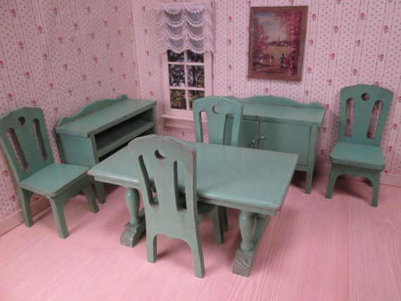 Strombecker Wooden Dollhouse Green Dining Room Furniture