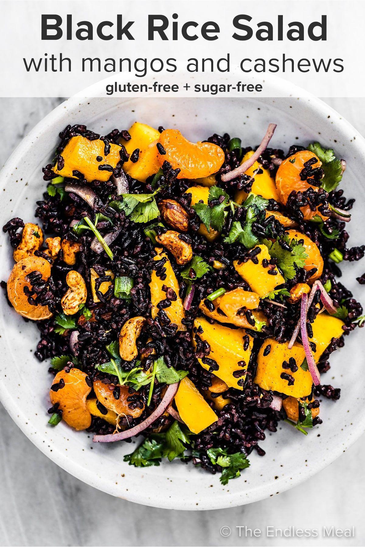 Black Rice Salad With Mango And Peanuts Recipe Black Rice Salad Rice Salad Orange Vinaigrette Recipes