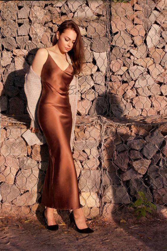 Silk Slip Dress, Long Midi Slip Dress Silk Thin Straps Silk prom dress, Midi Midnight Chemise Nightgown Silk clothing copper 90s slip Prom -   15 dress Silk christmas gifts ideas