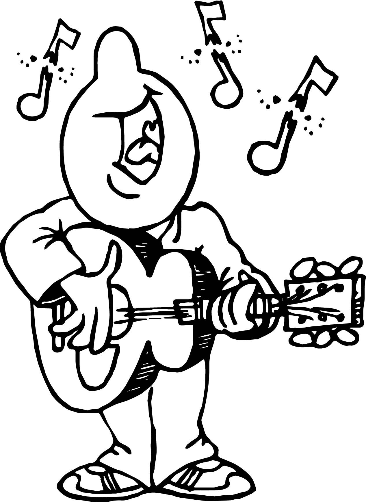 Nice Playing The Guitar And Say Song Man Coloring Page